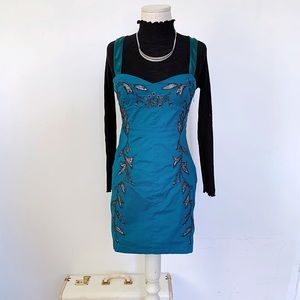 Free People Embroidered Turquoise Mini Dress